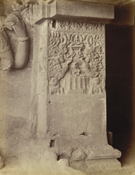 Pilaster, upper floor of Das Avatara [Close view of carved base of pilaster in upper storey of Hindu Cave XV (Dasavatara), Ellora.]